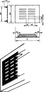 Afbeelding van Renson ventilatiestrip, 300 x 80 mm, inbouw, naturel, aluminium