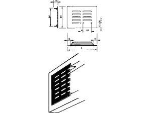 Afbeelding van Renson ventilatiestrip, 400 x 80 mm, inbouw, naturel, aluminium