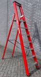 Afbeelding van Kelfort plateautrap, 1x7, gecoat aluminium, extra diepe trede, rood