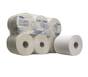 Afbeelding van Kimberly-clark poetspapier 300m x19.5cm, wit, 1 laags, pak a 6 rol met kern