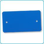Afbeelding van Label 2-gaats blauw pvc, 54 x 108, doos a 1000 stuks, afgeronde hoeken