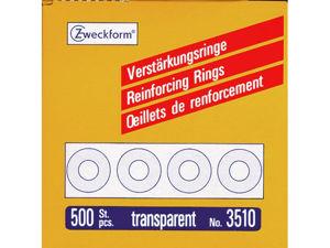 Afbeelding van Zweckform versterkingsringen, 13 mm, verpakking 500 stuks, 3510, transparant