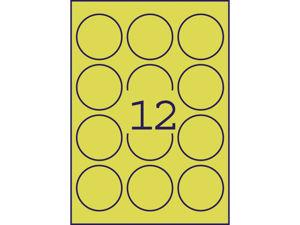 Afbeelding van Avery etiket, 63.5 mm, verpakking 300 stuks, rond, l7670y-25, neon geel