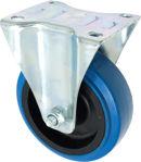 Afbeelding van Kelfort bokwiel, 100 mm, bevestigingsplaat 104x80 mm, blauw, rubber, verzinkt,